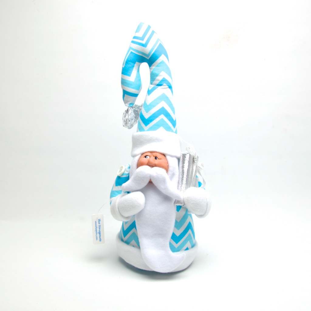 Whimsical Santa in Turquoise Chevron by Debbie McIntyre *Last Chance Item - © Blue Pomegranate Gallery