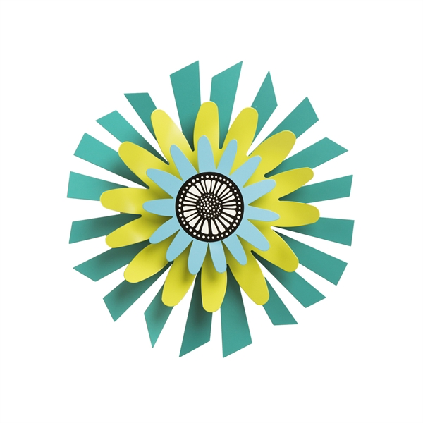 "13"" Citron Flower on Teal Petals Kinetic Spinner by Carol Roeda - © Blue Pomegranate Gallery"