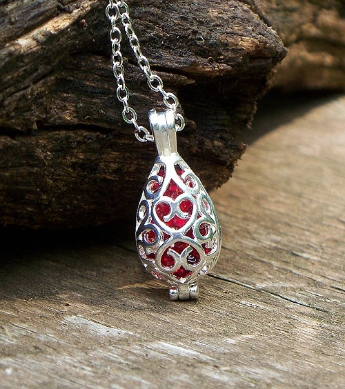 Ruby Beer Bottle Glass in Silver Filigree Teardrop Necklace by Laura Bergman
