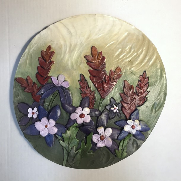 "Columbine and Paintbrush, 11"" Circle Tile by Carol Fennell - © Blue Pomegranate Gallery"