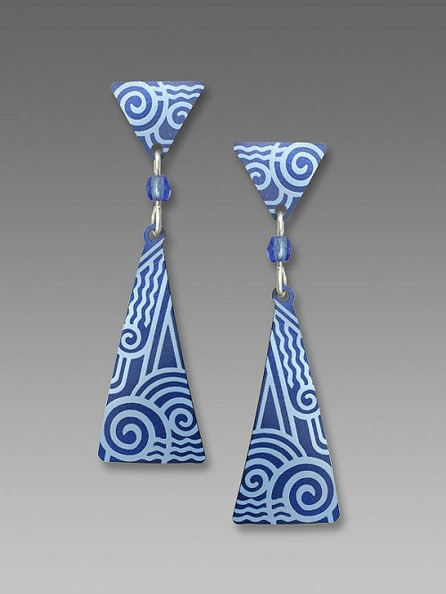 Blue Triangle Deco Earrings by Barbara MacCambridge