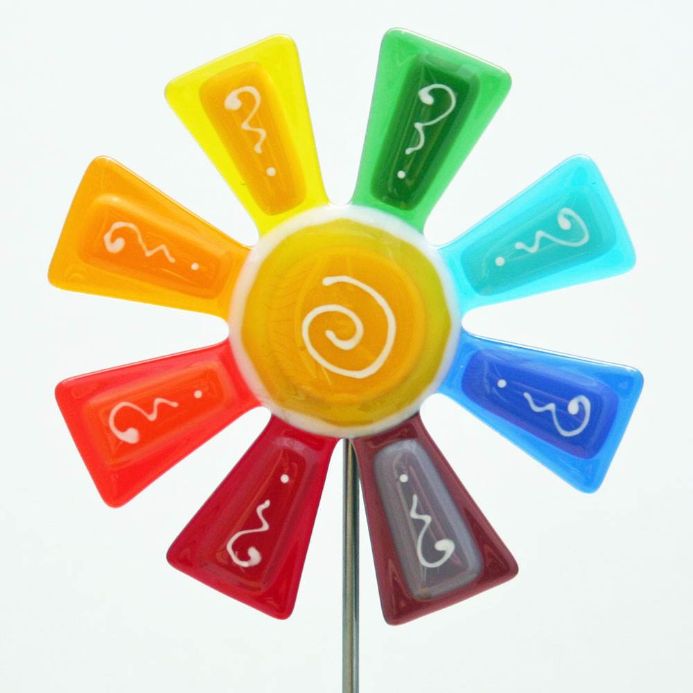 Fused Glass Flower Plant Stake by Kristi Thorndike Kent - © Blue Pomegranate Gallery