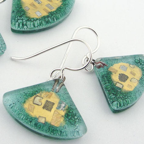 Aqua Golden Phase Fan Earrings by Mor - © Blue Pomegranate Gallery