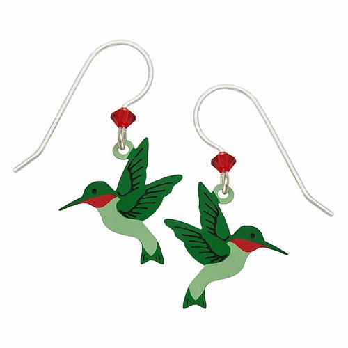 1157 Hand-painted Hummingbird Earrings by Barbara MacCambridge - © Blue Pomegranate Gallery