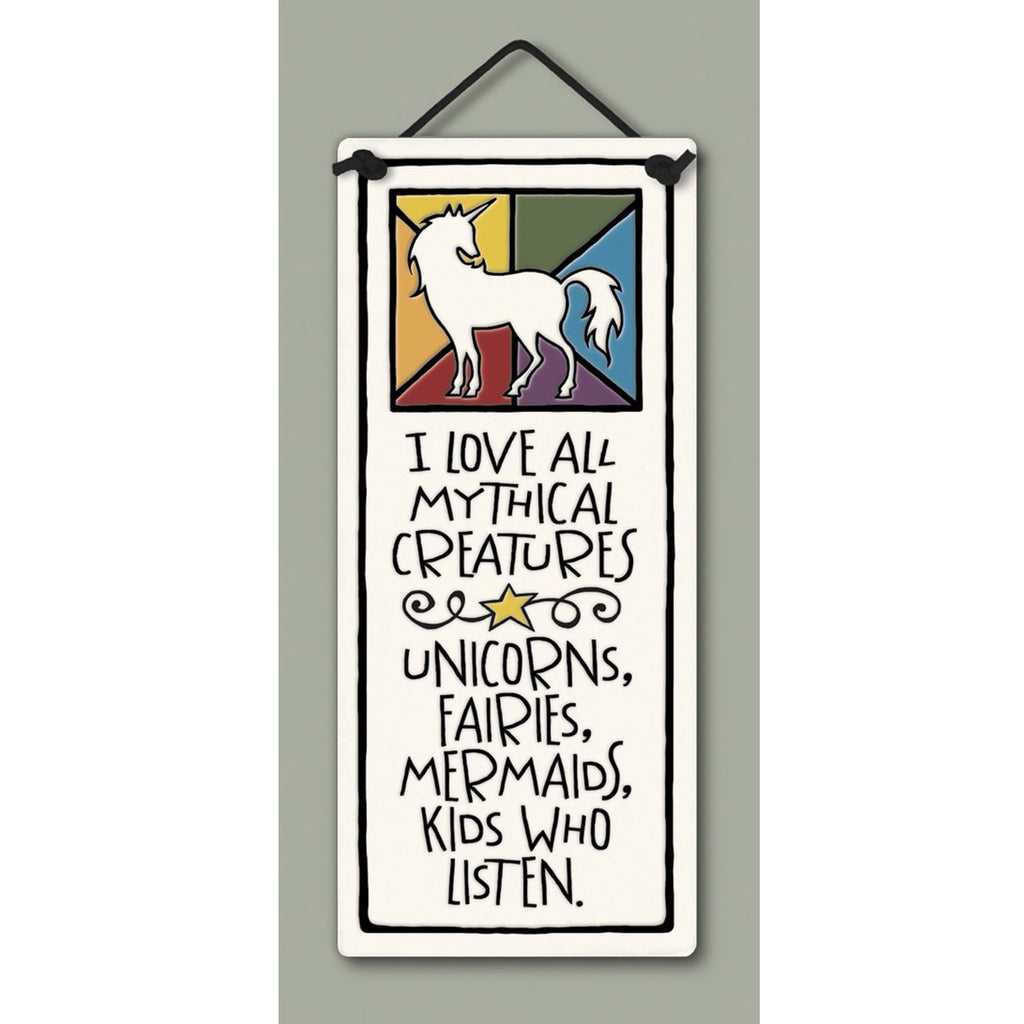 """Mythical Creatures"" plaque by Michael Macone - © Blue Pomegranate Gallery"