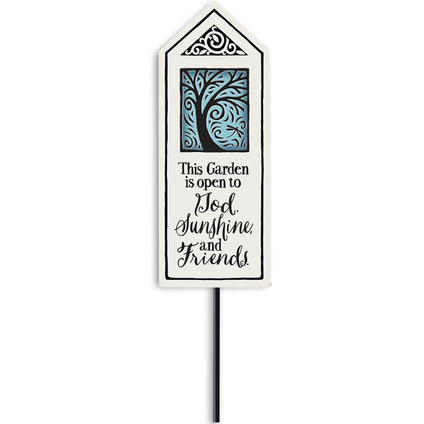 """God, Sunshine, Friends"" Garden Stake by Michael Macone - © Blue Pomegranate Gallery"