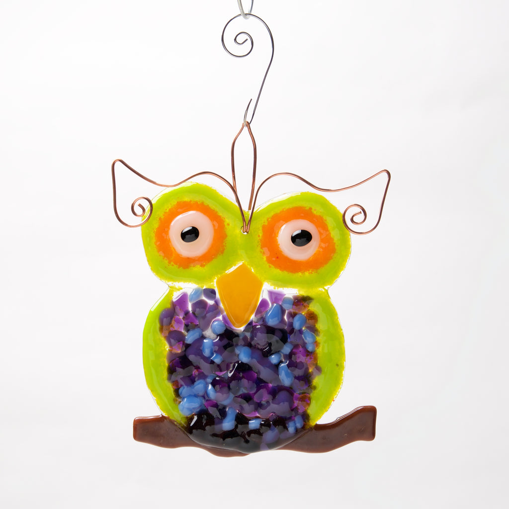 Bright Owl Suncatcher, Ornament by Heidi Riha - © Blue Pomegranate Gallery