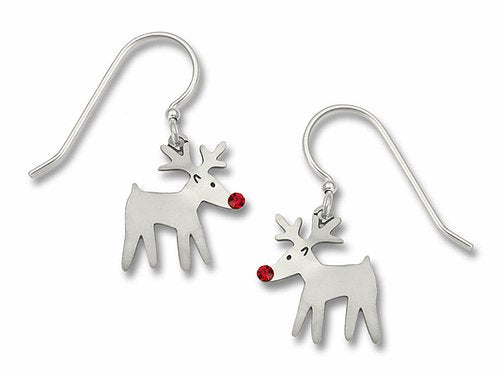 0934 Rudolph w/ red crystal nose Earrings by Barbara MacCambridge - © Blue Pomegranate Gallery