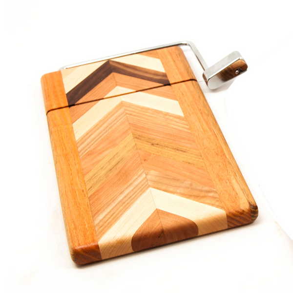 Herringbone Cheese board with wire cutter by Dickinson - © Blue Pomegranate Gallery
