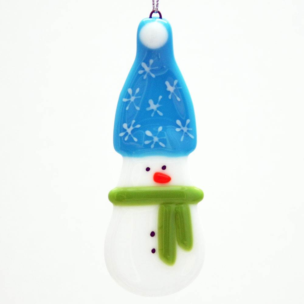 Snowman Light Blue Ornament by Kristi Thorndike Kent - © Blue Pomegranate Gallery
