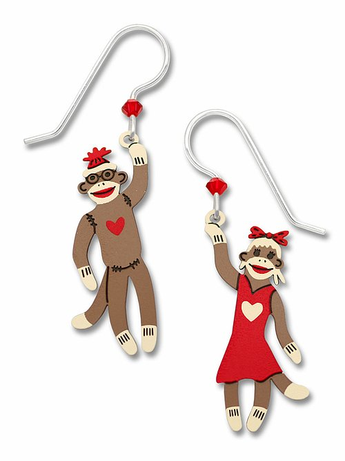 1703 Boy & Girl Sock Monkeys Earrings by Barbara MacCambridge - © Blue Pomegranate Gallery