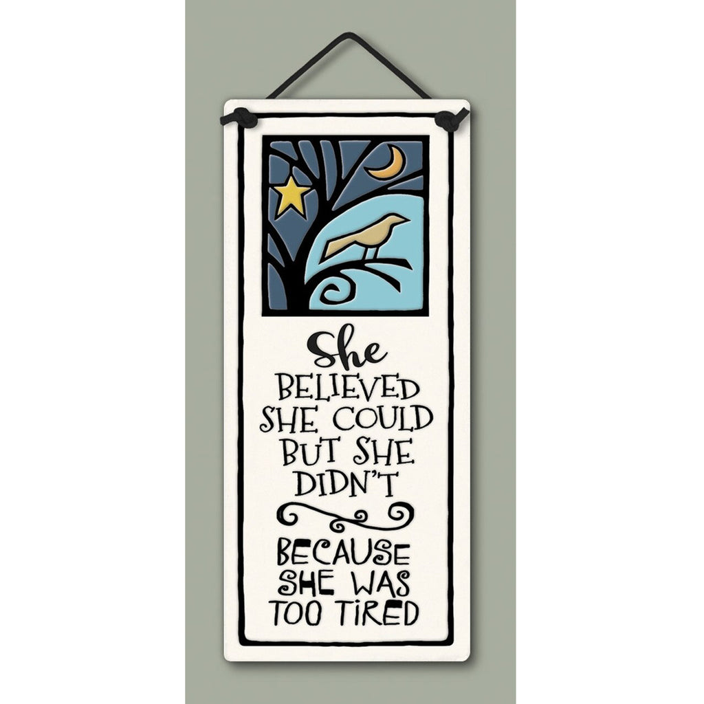"""She Was Too Tired"" plaque by Michael Macone - © Blue Pomegranate Gallery"
