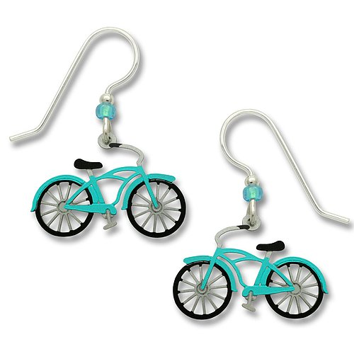 1596 Vintage Bike in Aqua Earrings by Barbara MacCambridge - © Blue Pomegranate Gallery