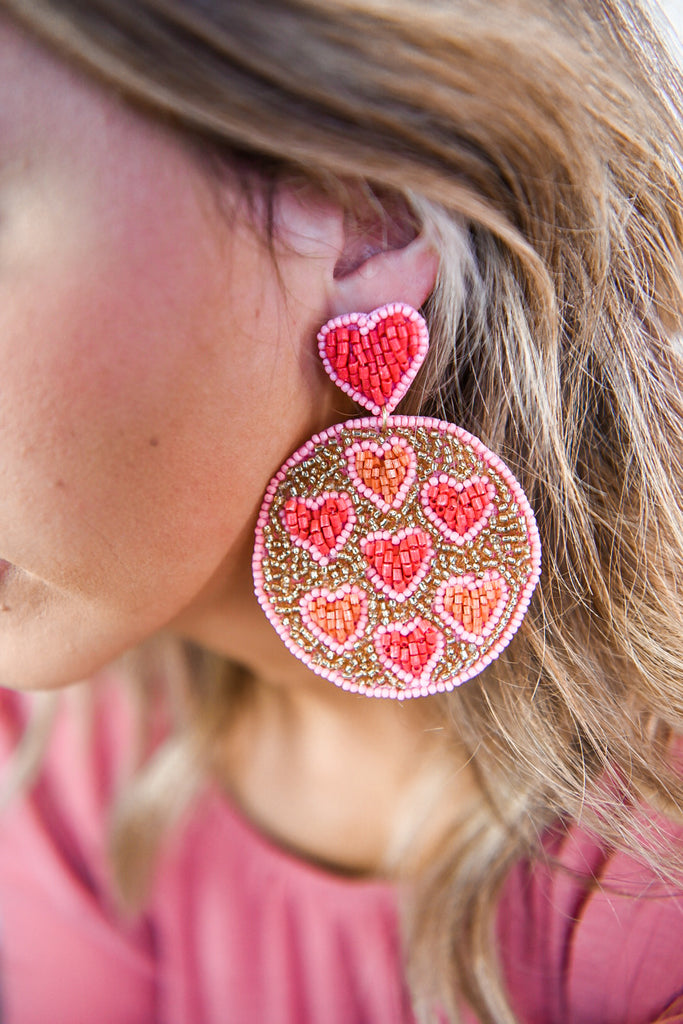 Coral With Love Earring
