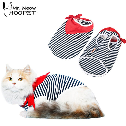 Cat Red Scarf Striped Youth Shirt  Navy Casual Style