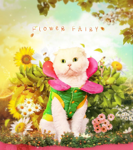Cute Cat  Flower Down & Parkas Costume