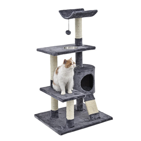 H103 Cat Toy Scratching Wood Climbing Tree with Bowl