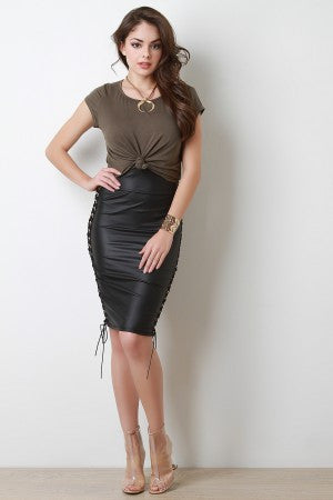 High Waist Vegan Leather Laced Midi Skirt - Showroom 007