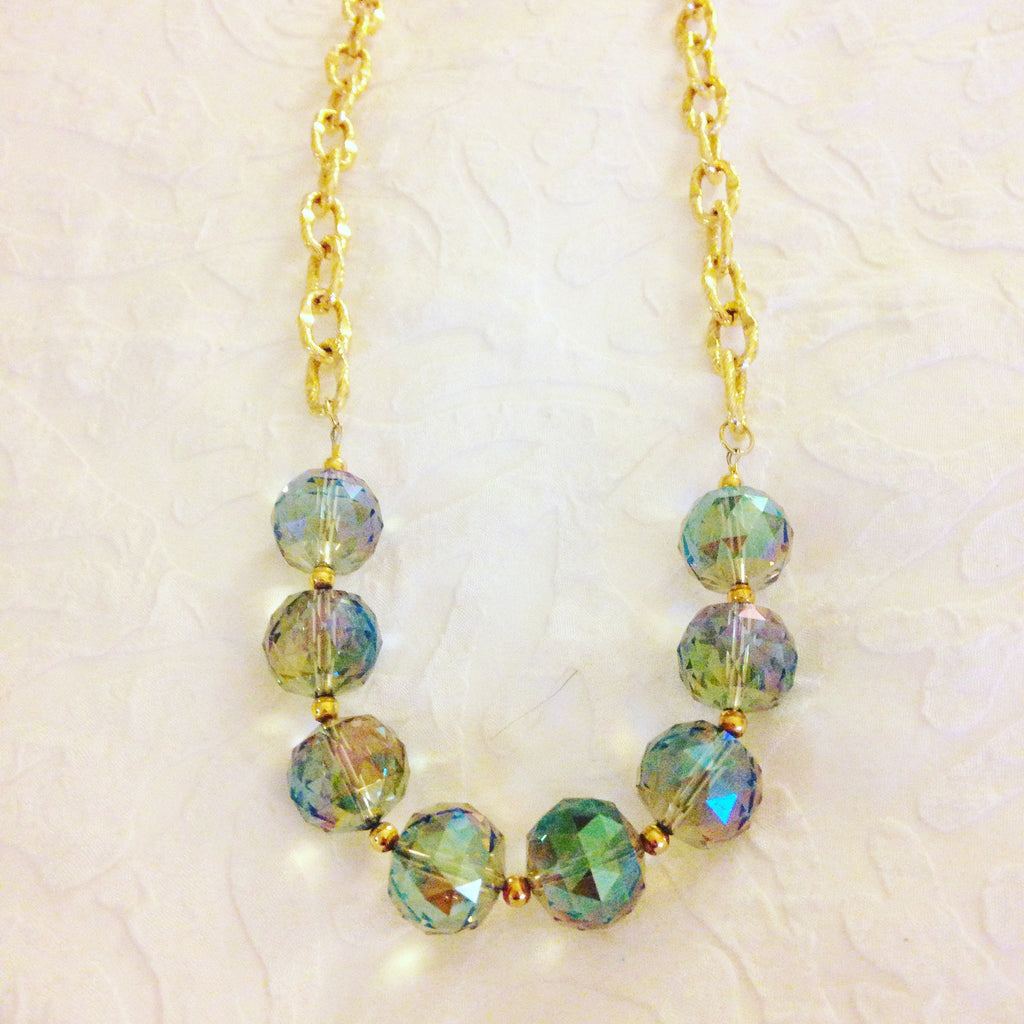 Faceted Iridescent Bead Necklace