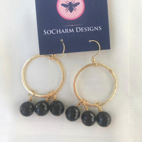 Black Bead Hoop Earrings