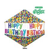 "Add a (21"") UltraShape Anglez Happy Birthday Balloon Build your own balloon bouquet"