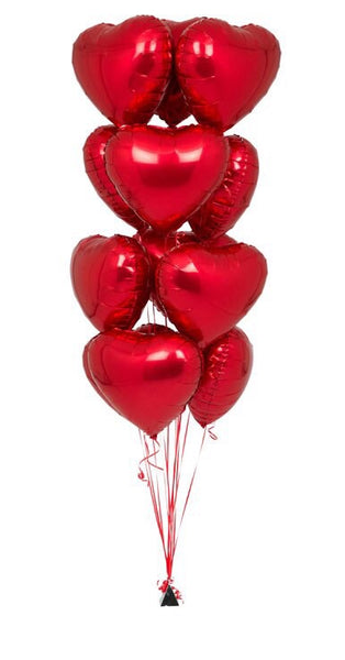 One dozen beautiful Mylar Heart Balloons