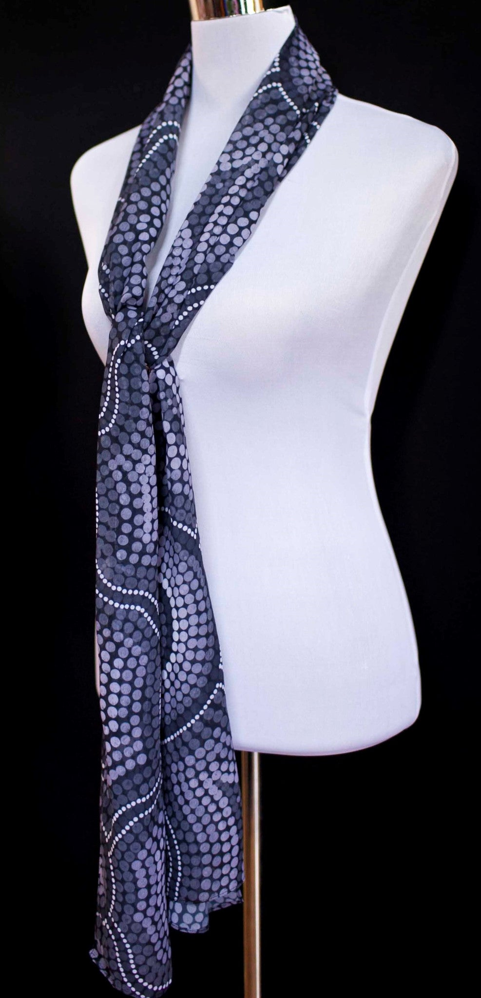 Chiffon scarf - Gatherine over waters greyscale