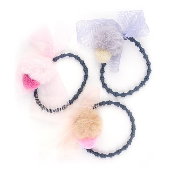 RARE RABBIT | Pompom & Tulle Hair Tie - kids accessories