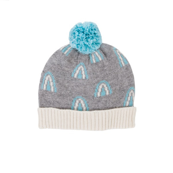 ACORN KIDS Rainbow Beanie - Grey & Blue