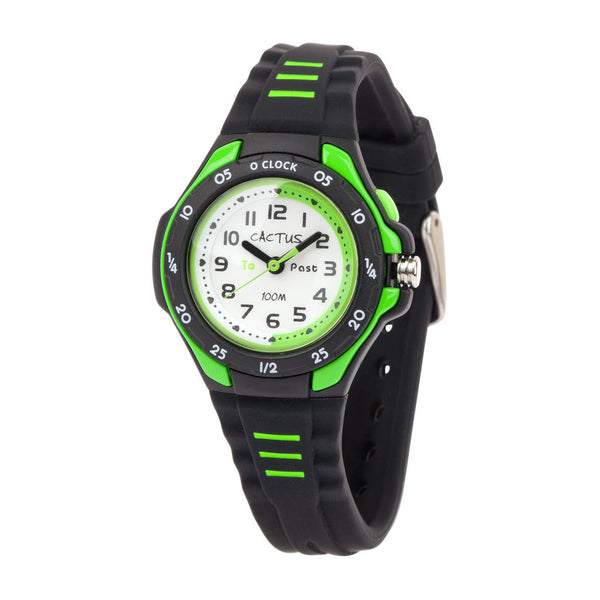 Black Kids Waterproof Watch with green trim - Time Teacher