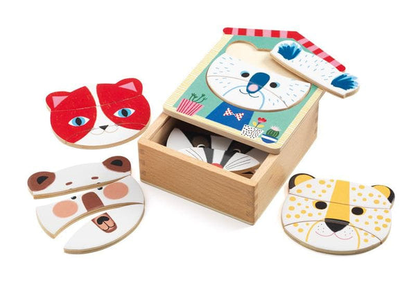 DJECO Face Mix Wooden Puzzle Set