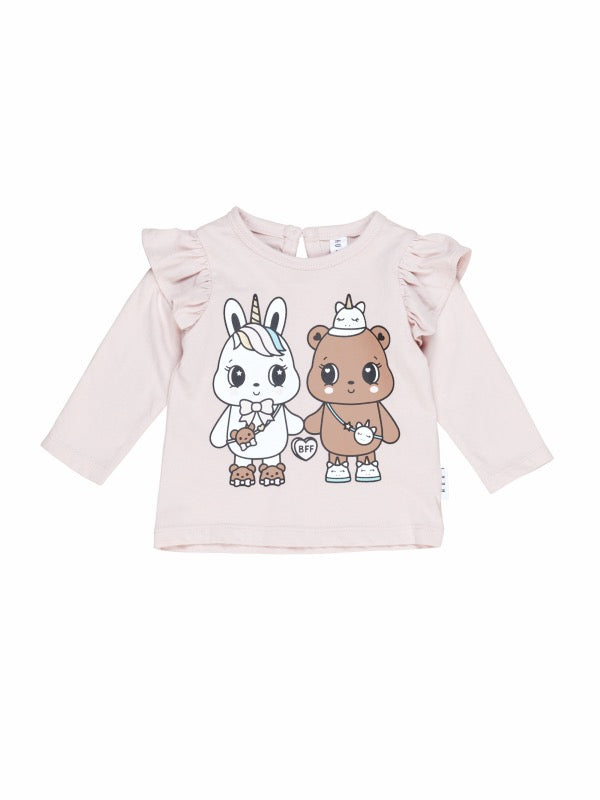HUXBABY Furry Friends Frill Top