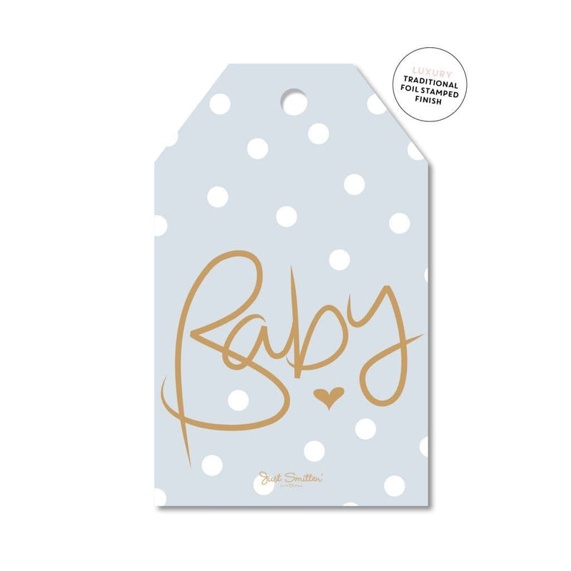 JUST SMITTEN CARDS | Spotty Blue Baby Gift Tag
