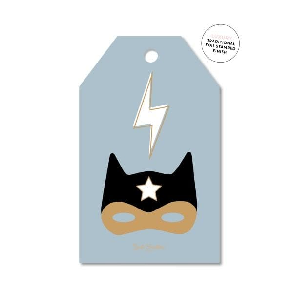 JUST SMITTEN CARDS | Golden Superhero Gift Tag