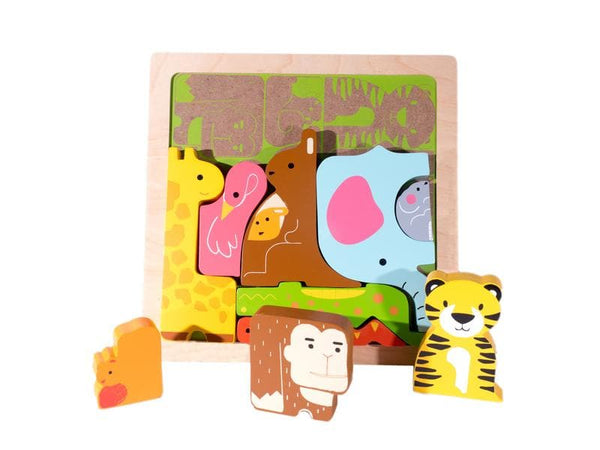 KIDDIE CONNECT | Wild Animal Chunky Puzzle - wooden