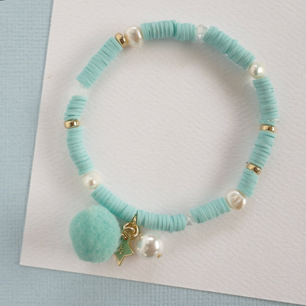 LAUREN HINKLEY Aqua Blue Bracelet with Pom Pom and Pearl