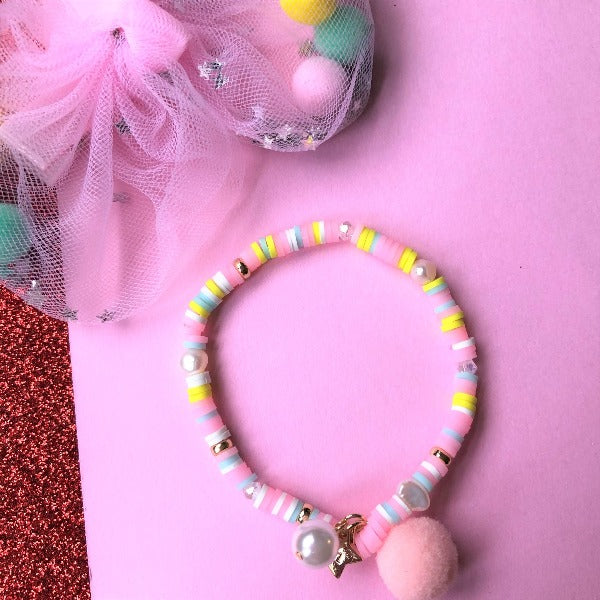 LAUREN HINKLEY Pastel Pink Bracelet with Pom Pom and Pearl