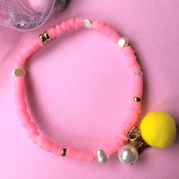 LAUREN HINKLEY Pink Bracelet with Pom Pom and Pearl