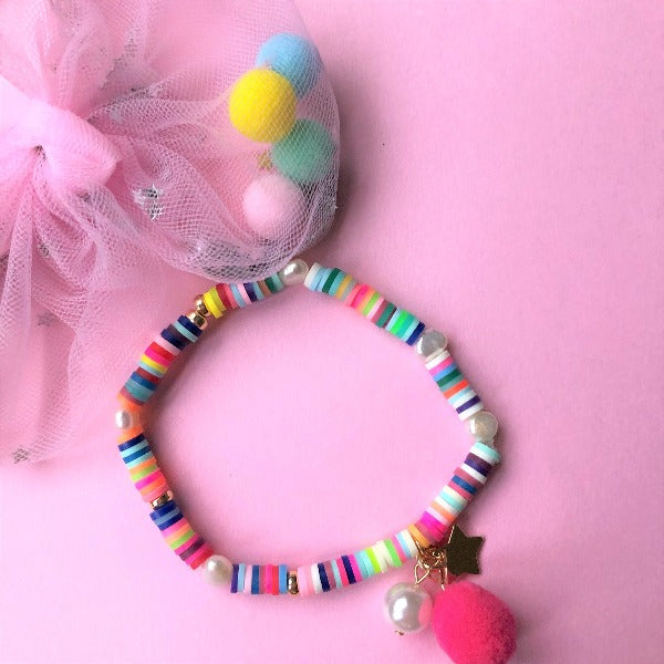 LAUREN HINKLEY Rainbow Bracelet with Pom Pom and Pearl