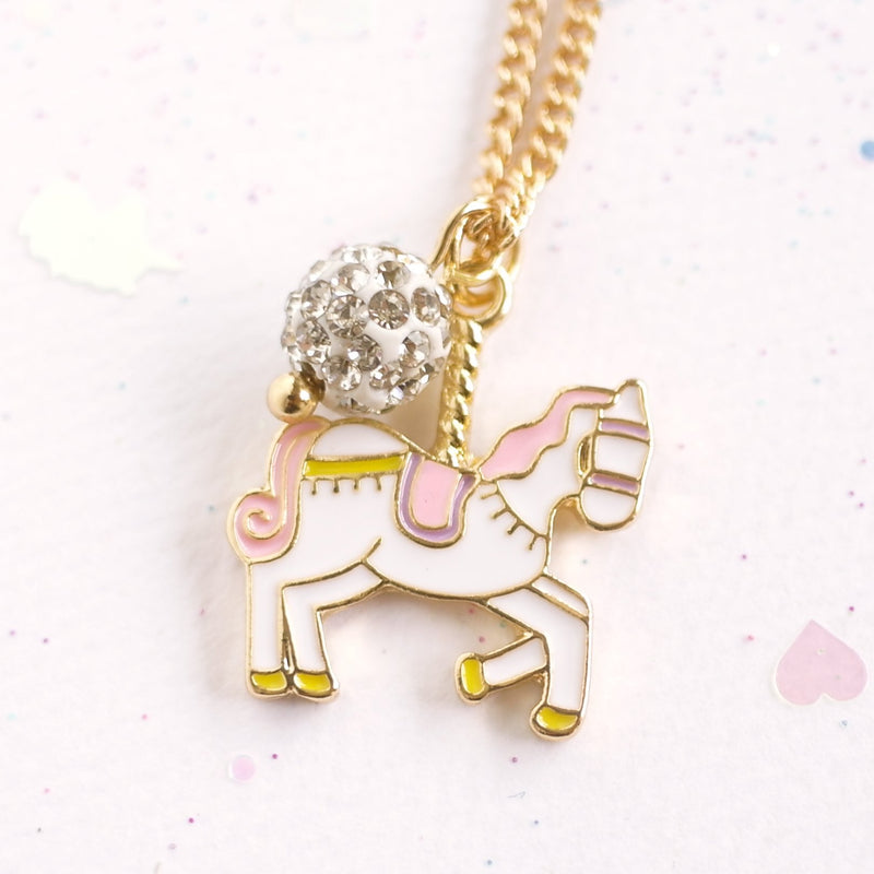 LAUREN HINKLEY Unicorn Carousel Gold Necklace