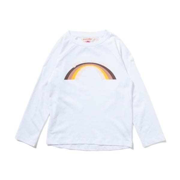 MUNSTER KIDS Poet Tee - Girls white long sleeve tee with rainbow print up to size 16