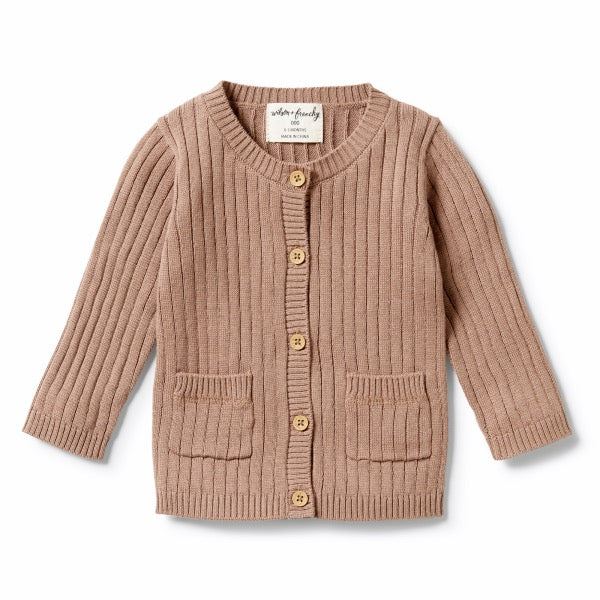 WILSON & FRENCHY Knitted Rib Cardigan - Burro Fleck front view