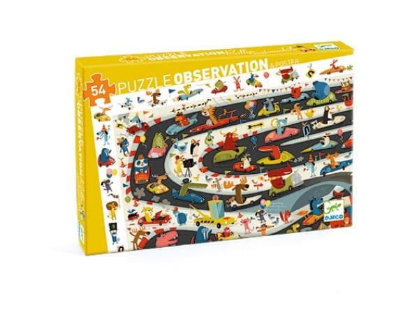 DJECO Car Rally 54pc Observation Puzzle