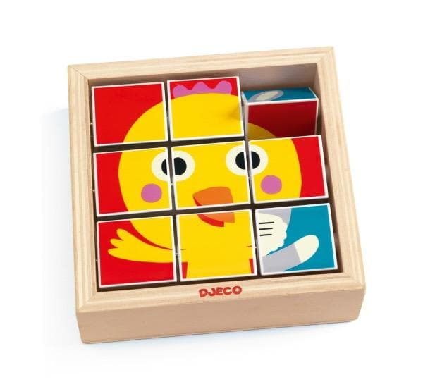 DJECO Block Spin Puzzle Tournifarm - wooden puzzle for 2 year olds