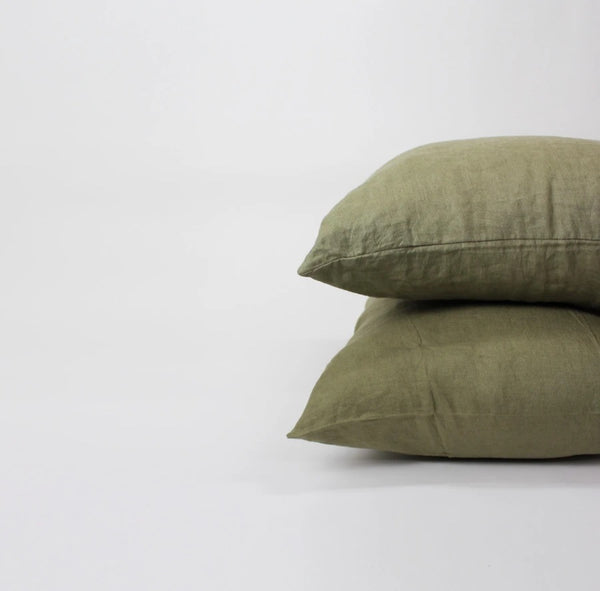 Flax Linen Euro Pillowcase Set of two - Moss | Camden + Co