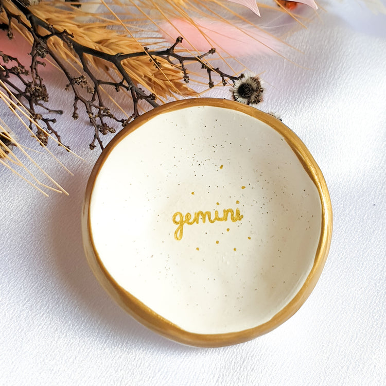 Gemini star sign jewellery dish