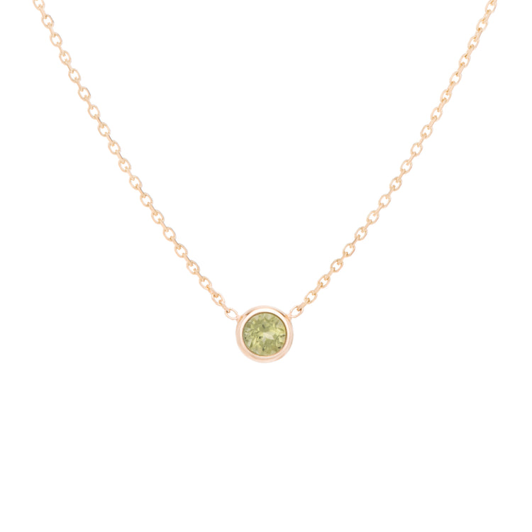 Classic 'yellow-green' variety, Peridot is the birthstone necklace celebrating August.  Consisting of 18k gold chain with extenders to personalise length of necklace/choker. Perfect as an anniversary, birthday or special occasion jewellery present.