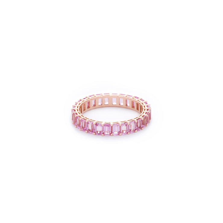 Pink emerald cut sapphire ring. Handcrafted in Australia from with custom cut petite size natural sapphires with 18K gold band. All stones individually assessed by certified gemologist.