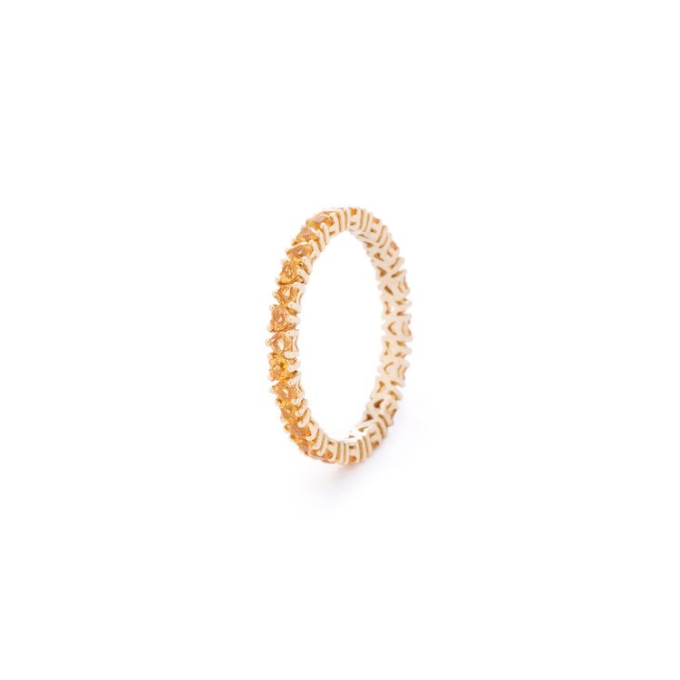 Yellow natural sapphires, custom cut to petite size, set in 18K gold band. Handcrafted in Australia