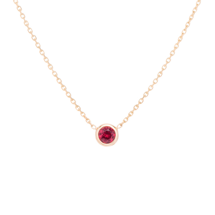 Classic red variety Ruby necklace, celebrating the month of October. Consisting of 18k gold chain with extenders to personalise length of necklace/choker. Perfect as an anniversary, birthday or special occasion jewellery present.